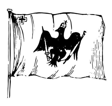 Flag of Prussia, 1881, this flag shows an eagle with crown, eagle clutches sword in right leg and sceptre in left leg, vintage line drawing or engraving illustration