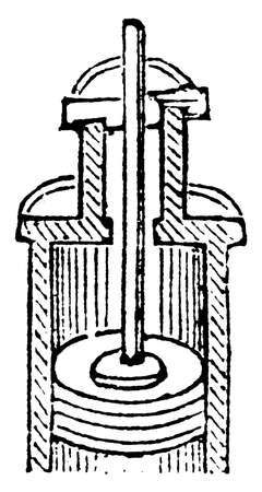 This illustration represents Stuffing box which use to prevent the escape of steam, vintage line drawing or engraving illustration.