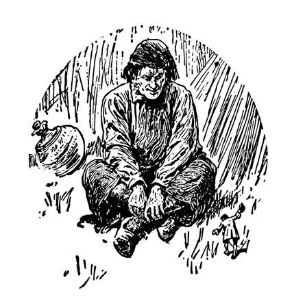 Man Sitting with Legs Crossed, this picture shows a giant man sitting with legs crossed speaking to little man standing in front of him, vintage line drawing or engraving illustration