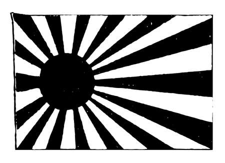 Japan, imperial navy flag, 1910, this  flag has red sun disc with 16 rays on a white field, and  the disc skewed to the hoist, vintage line drawing or engraving illustration