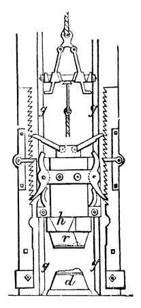 This illustration represents Stamping Machine which is used to press metal in to different shapes, vintage line drawing or engraving illustration. 일러스트
