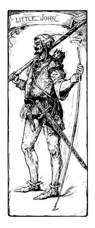 Little John, this scene shows a man in armour dress and holding something in hands, LITTLE JOHN is written on head, vintage line drawing or engraving illustration