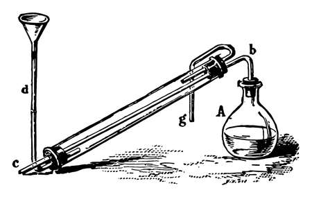 A condenser built from lab materials, vintage line drawing or engraving illustration.