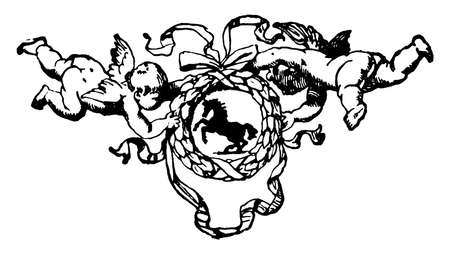 Wreath with cherubs have a horse center in its design, vintage line drawing or engraving. Illustration
