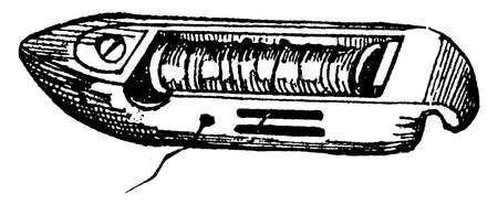 This illustration represents Shuttle which is used for carrying the weft thread between the warp threads in weaving, vintage line drawing or engraving illustration. Vecteurs