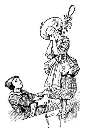 A young boy on ladder opened his hands towards girl with hat standing near him, She covered her face with her hands, vintage line drawing or engraving illustration Иллюстрация