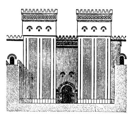 Faade of Great Hall, Ptolemaic temple, column, Edfu, facade, Ptolemaic, vintage line drawing or engraving illustration.