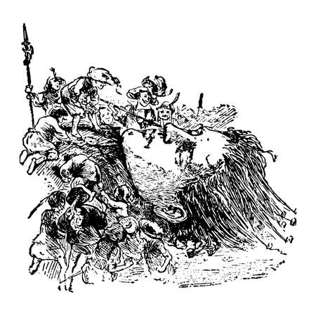 Gulliver's head, this scene shows a people with spears on giant's head, vintage line drawing or engraving illustration