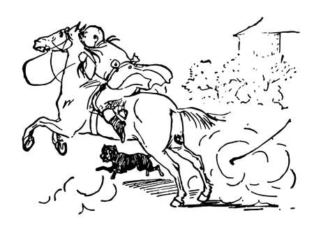 John Gilpin, this scene shows a man riding on horse and dog is running, vintage line drawing or engraving illustration Vetores