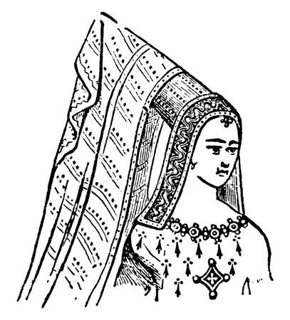 Steeple Head-dress are From Viollet-le-Duc, vintage line drawing or engraving illustration.