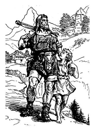 A man with little boy walking together and boy looking at him, houses and trees in background, vintage line drawing or engraving illustration
