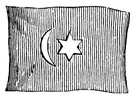 Flag of Turkey, 1881, this flag has vertical crescent and six pointed star slightly left of the center , vintage line drawing or engraving illustration