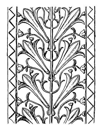 Etruscan Pilaster is an architectural element, vintage line drawing or engraving illustration.