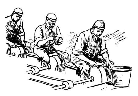 This illustration represents Grinding Hull, vintage line drawing or engraving illustration.