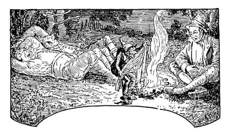 Nose-Tree, this scene shows two men sleeping near fire of burning woods, another man sitting near them and fairy showing something to him, vintage line drawing or engraving illustration Ilustração
