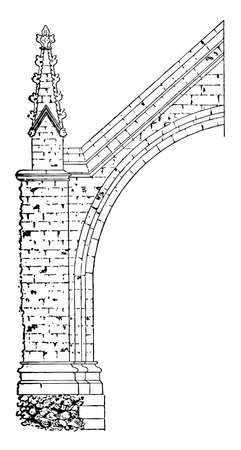 Flying Buttress, hall, Westminster, carried, half, distance, vintage line drawing or engraving illustration.