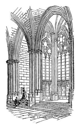 Chapel, Choir Chapel, 14th century, Cathedral of Mantes, France, church, sanctuary, vintage line drawing or engraving illustration.
