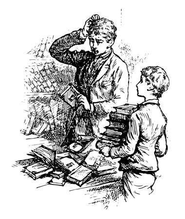 Library or collection sources of information, similar resources, vintage line drawing or engraving illustration. Ilustração