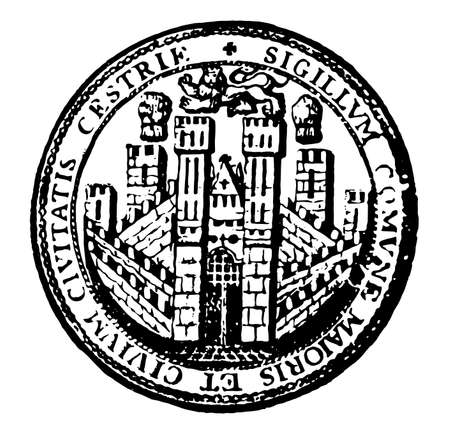 The seal for the city of Chester, England, seal is in circle shape, there is a lion on top of castle, and few words mention on seal, those words are SIGILLVM, COMVNE, MAIORIS, ET, CIVIVM, CIVITATIS, CESTRIE, vintage line drawing or engraving illustration Ilustración de vector