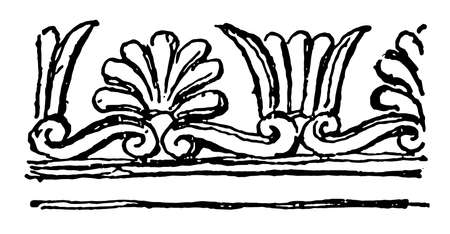 Etruscan Border are typical and constant feature of Etruscan dress, vintage line drawing or engraving illustration.