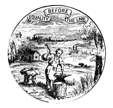 The official seal of the U.S. state of Nebraska in 1889, this seal has train and mountains in the background, it also has blacksmith works at his anvil, sheaves of harvested sheaf, and steamboat, vintage line drawing or engraving illustration