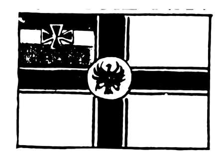 Flag of Germany, 1913, white color flag has black cross connecting all sides of flag with white disc at center, 3 equal horizontal bands black, white & red in canton with small black cross in center, vintage line drawing or engraving illustration