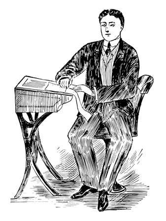 Penmanship Posture or correct posture to sit, pen position, proper posture, vintage line drawing or engraving illustration