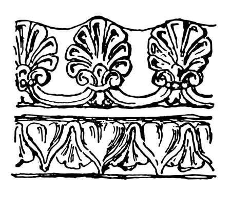 Etruscan Border have a terra-cotta pattern, vintage line drawing or engraving illustration.