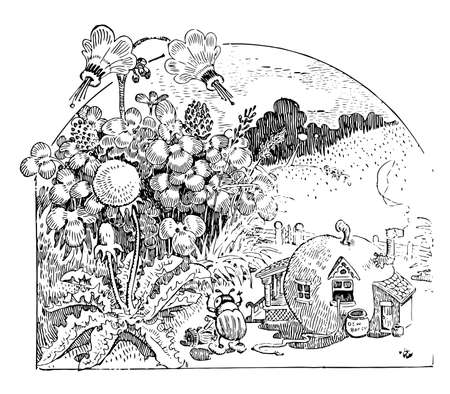 Beatle Yardwork, this scene shows a beatle attempting to mow the grass behind his home, vintage line drawing or engraving illustration Ilustrace