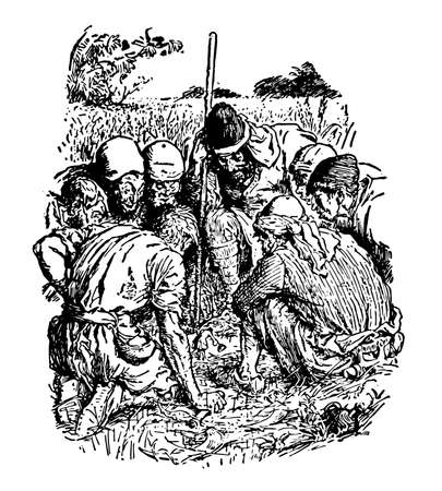 Giants Gathered, this scene shows group of giant men sitting in circle and looking towards a little man standing in the center of circle, vintage line drawing or engraving illustration