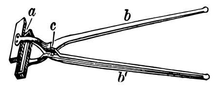 This illustration represents Pinch Tongs which is used pickingup pieces of coal and placing them on a fire, vintage line drawing or engraving illustration.