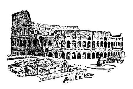 Colosseum at Rome, the greatest of Roman ampitheatres,  masculine noun coliseus,  the Flavian amphitheatre, vintage line drawing or engraving illustration. Illustration