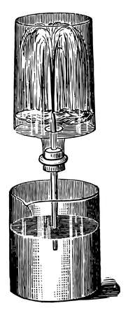 Draw out a piece of glass tubing to a jet and push it through a perforation in a cork that snugly fits a bottle, vintage line drawing or engraving illustration. Vettoriali