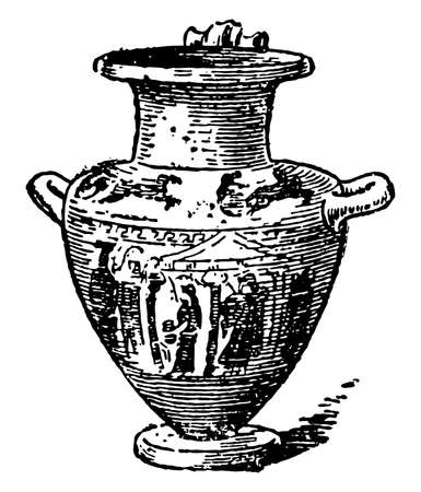 Hydria has three handles, Two horizontal handles on either side of the body of the pot were used for lifting and carrying the pot, vintage line drawing or engraving illustration.