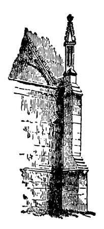 Buttress, Flying Buttress, architecture, gothic, vintage line drawing or engraving illustration.