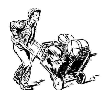 This illustration represents Porter who is a person employed to carry luggage and other loads, vintage line drawing or engraving illustration.
