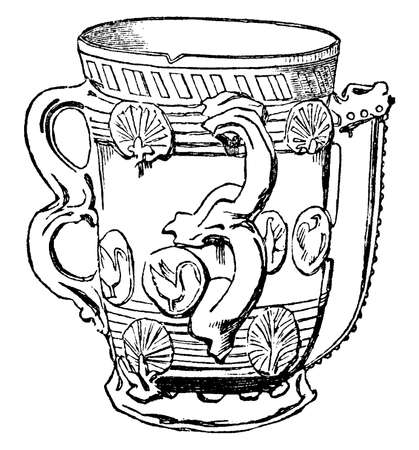 Tyg of Staffordshire ware, its Most were probably used for decoration rather than drinking, vintage line drawing or engraving illustration.  イラスト・ベクター素材
