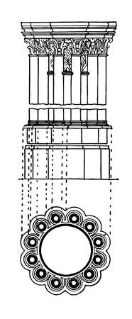 Clustered Pier, an elaborate foliated capital,  the architectural term, a clustered column, vintage line drawing or engraving illustration. 일러스트