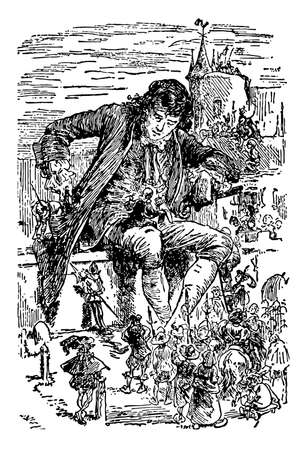 Giant Sitting on Wall, this scene shows a giant man sitting on wall of building and group of little people holding spears and ladder gathered around him, vintage line drawing or engraving illustration Vettoriali
