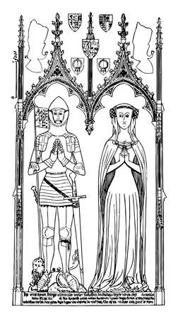Brass monument is Sir Symon de Felbrigge and Margaret his wife statue, vintage line drawing or engraving illustration.