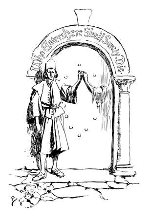 Fate Wills, this scene shows a man standing near mirror, vintage line drawing or engraving illustration