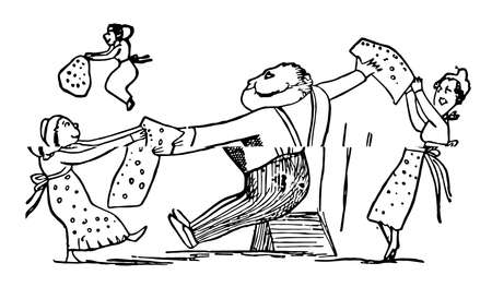 Edward Lear's Rhymes, this scene shows a man is sitting and tore his waistcoat into pieces and giving to three females, vintage line drawing or engraving illustration