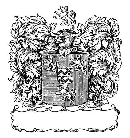 Book-plate or Francis Gwyn of Lansanor, Engraved heraldic bookplate, vintage line drawing or engraving illustration.