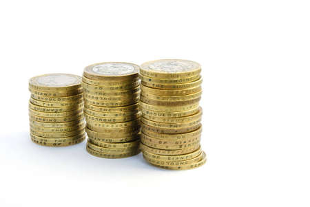 bimetallic: Stacks of two pound coins Stock Photo