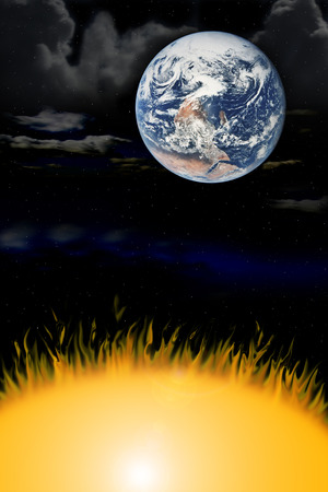 pulsar: the three elements earth wind fire Stock Photo