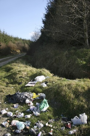 lazyness: rubbish dumped in our environment Stock Photo