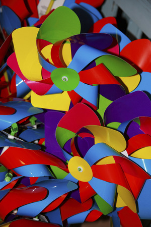 kaleidascope: a mix of childrens windmills Stock Photo