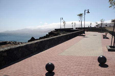 a  path on the lanzarote coast line photo
