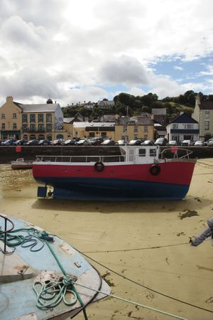 youghal: some fishing boats anchored in the bay Stock Photo