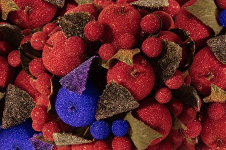 a selection of blue and red christmas decorations photo